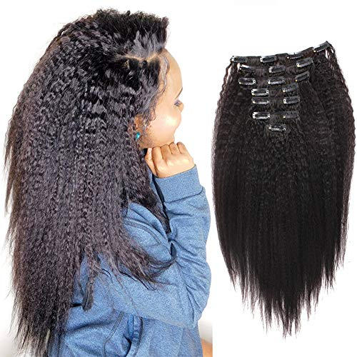 Sassina Afro Kinky Straight Clip in Human Hair Extensions Virgin Brazilian 8A African American Straight Clip on Hair For Black Women 120Grams 7 Pieces-Set, KS 16 Inch