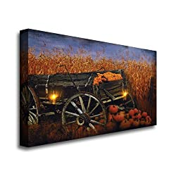 Canvas Prints Wall Art, Wrapped on Stretcher Bars - Harvest Wagon Canvas Radiance Lighted Wall Art - Ready to Hang Wall Decor 14 X 20 X 1 Inch by TIMELESS BY DESIGN