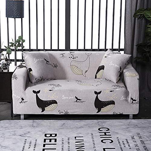 JNBGYAPS Funda para sofá en Forma de L Funda elástica Impresión Fundas de sillón Sofá Fundas Antideslizantes Fundas de Muebles para sillas, Tela Gruesa Suave Lavable (4 plazas, Gris)