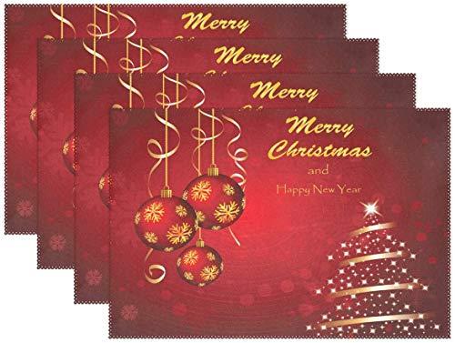 HEOH Manteles Individuales de 12 x 18 Pulgadas, Juego de 6, Rojo Feliz Navidad Copo de Nieve Snow Table Mat Mesa de poliéster para Cocina Comedor para niños