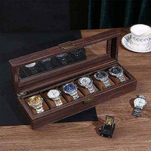 QCSMegy Organizador de Caja de Reloj para Hombre, Caja de Reloj Vintage marrón con 6 Ranuras, Pantalla de Reloj de Cuero con Tapa de Cristal Real, bisagra de Metal