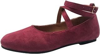 Shusuen Women's Classic Ballerina Flats Elastic Crossing Straps Vintage Mary Jane Sandals Round Toe Pump Shoes