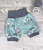 Pumpshorts Jersey haremshose Gr. 56-110,kurze hose mädchen junge, Hase mint, Babyhose, Kinderhose