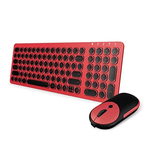 OUKB Ratón inalámbrico Recargable, Teclado, Juego, computadora de Escritorio, Oficina, hogar, Juego, Silencio, Llave, Metal, Receptor (Color : Glamour Red)