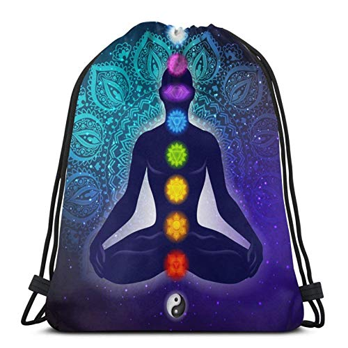Lmtt Mochila con cordón, deportes, gimnasio, mochila, bolsa de viaje, chakra, yoga, meditación
