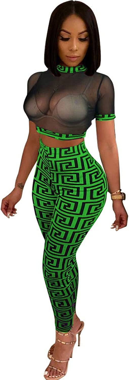 Women's 2 Piece Set Outfits Suit Printing Sexy Mock Neck Mesh Top + Pencil Bodycon Pants Nightclubwear