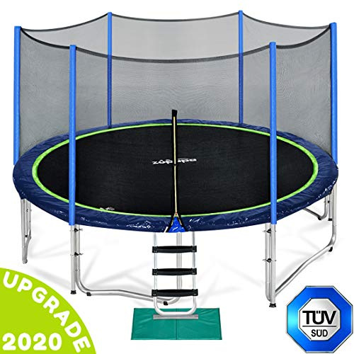 Zupapa 15 14 12 Ft TUV Approved Trampoline with Enclosure Net and Pole and Safety Pad and Ladder and...