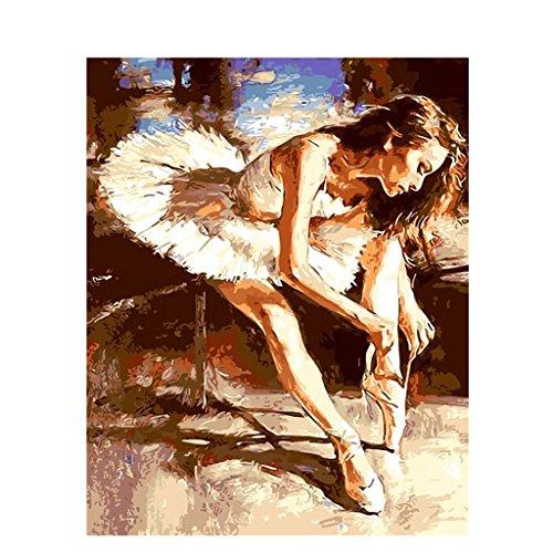 JAGENIE Ballett Tänzerin Krawatte Die Schnürsenkel Ungerahmt DIY Malen Nach Zahlen Ölgemälde Wohnkultur 40 * 50 cm