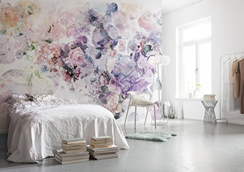 Komar 1–xXL4–060Komar Wish acuarela floral papel pintado–Mural de pared (368x 248cm,), color blanco, azul, rosa, naranja, púrpura, rojo, verde, amarillo (1pieza)