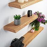 Rikmani Mensola a muro in legno di quercia massello - ripiano...