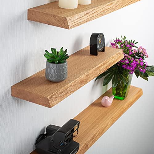 Rikmani Mensola a muro in legno di quercia massello - ripiano fatto a mano con bordo ad albero scaffale libreria in legno mensola a muro 40 cm x 15 cm x 4 cm