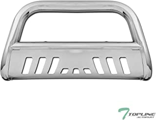 Topline Autopart Polished Stainless Steel Bull Bar Brush Push Front Bumper Grill Grille Guard With Skid Plate For 04-19 Ford F150 / 03-17 Expedition / 03-14 Lincoln Navigator / 06-08 Mark LT