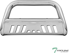 Topline Autopart Polished Stainless Steel Bull Bar Brush Push Front Bumper Grill Grille Guard With Skid Plate For 97-03 Ford F150 / F250 / 04 Heritage / 97-02 Expedition