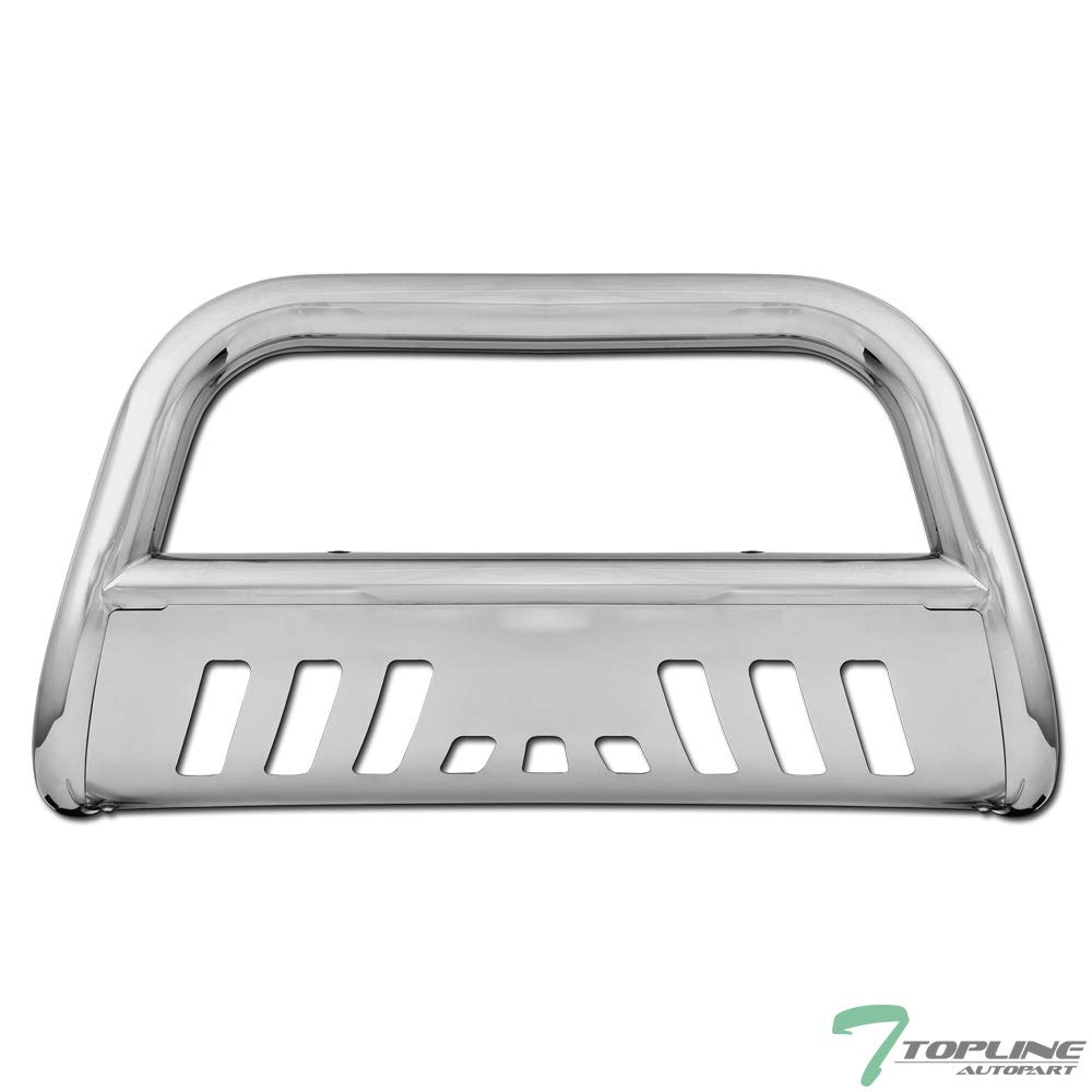 Topline Autopart Polished Stainless Steel Bull Bar Brush Push Front Bumper Grill Grille Guard With Skid Plate V2 For 07-18 Chevy Silverado//Tahoe//Suburban ; GMC Sierra//Yukon//XL 1500