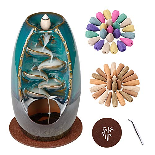 CHICHIC Incense Holder Waterfall Incense Burner Backflow Ceramic Incense Cone Holders Burner Smoke Fountain Waterfall Falls with 130 Backflow Incense Cones for Aromatherapy Ornament Home Decor, Set 1