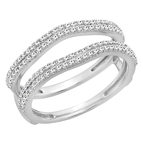 Dazzlingrock Collection 0.48 Carat (ctw) 10K Round Diamond Ladies Wedding Enhancer Double Ring 1/2 CT, White Gold, Size 5.5