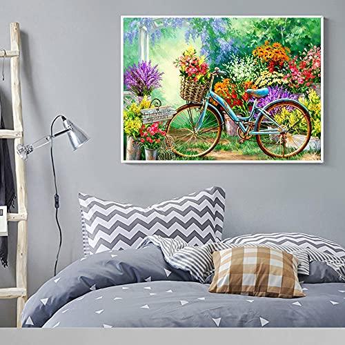 DIY 5D Diamante Pintura Kits Bicicleta escénica Grande Taladro Completo Diamond Painting Bordado cuadros Rhinestone Punto de Cruz Diamante arte Craft de decoración del hogar Round (50x70cm,20x28in)