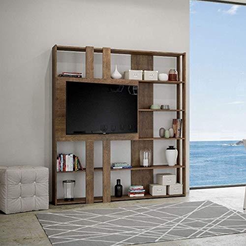 Itamoby, Libreria e Porta TV a Parete in Legno Kato L con 6 Ripiani 5 Scompartimenti Noce Arredamento Moderno Ufficio Soggiorno Cucina L.178 P. 34 H.204 cm Made in Italy