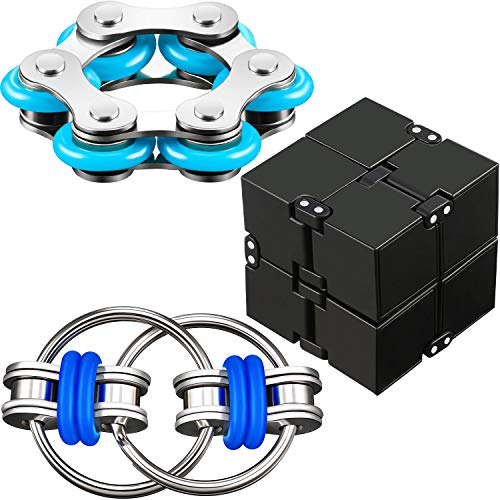 3 Pieces Fidget Toy Set Include Six Roller Chain, Fidget Key Infinity Cube Flippy Chain Stress Reducer for Autism Stress and Anxiety Relief