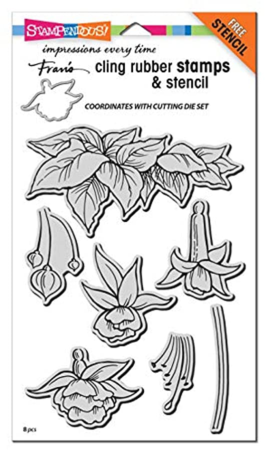 Stampendous CRS5106 Cling Rubber Stamp, Fuchsia Trio