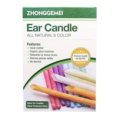 32 pcs Bougies d'oreille, cônes de bougies en cire d'abeille - Kit Bougie auriculaire pour enlever la cire à l'oreille avec cire d'abeille organique naturelle (32)