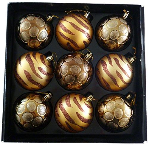 christmasshop Confezione da 9-8 cmLuxury Decorato Oro/Bronzo Bagattelle dell'albero di Natale