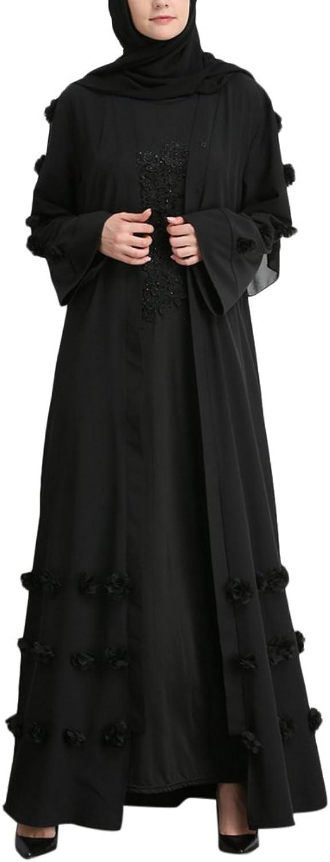 Zhuhaitf Casual Cardigan Muslims Islamic Caftan Abaya Robe Maxi Dresses with Floral