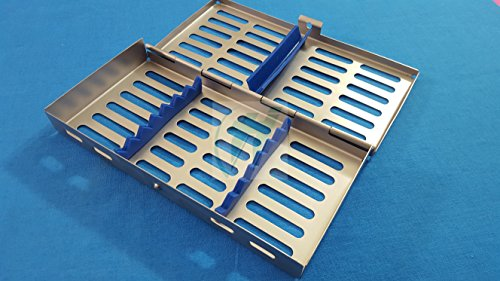 French Steel Autoclave Dental Surgical Lab Sterilization Cassette 7' X 3.5' X 0.75' Tray Rack for 7 Instruments (Hti Brand)
