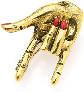 N/W Girl Love Gesture Red Nail Hand Brooch Pins For Women Wedding Brooch Punk Pins Fashion Jewelry Accessories Gift