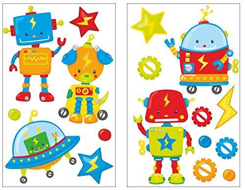 Samunshi® Lot de 17 Stickers muraux pour Chambre d'enfant Motif Robots, Multicolore, 2X 16x26cm
