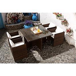 CONCEPT USINE – Salon De Jardin Miami 4 Personnes en Résine Tressée Marron Poly Rotin – 1 Table en Verre – 4 Fauteuils…