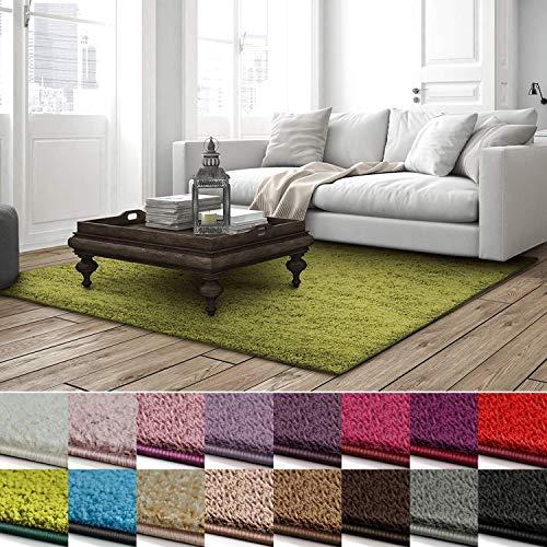 casa pura Shaggy Teppich Barcelona | weicher Hochflor Teppich für Wohnzimmer, Schlafzimmer, Kinderzimmer | GUT-Siegel + Blauer Engel | Verschiedene Farben & Größen | 100x150 cm | Grün