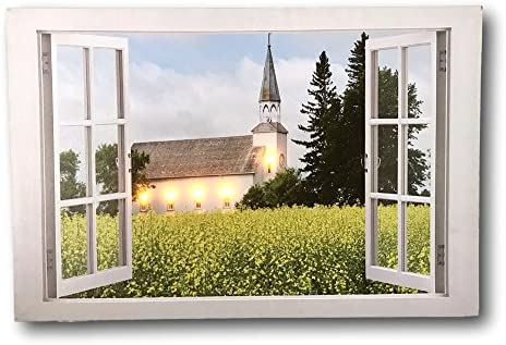 BANBERRY DESIGNS LED Canvas Print Lighted Picture of a Country Church with a Window Frame Border product image