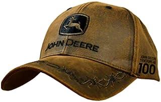 John Deere 100 Year Anniversary Oilskin Look Patch Casual Cap Brown