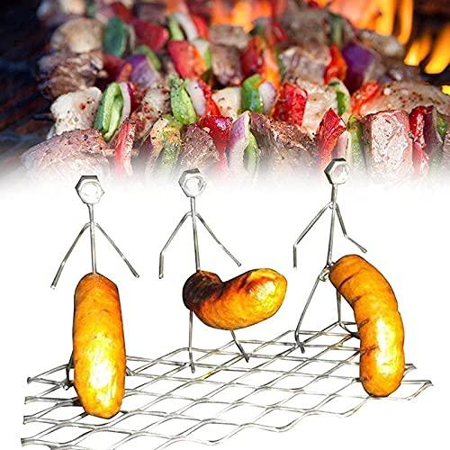Hot Dog Melshmallow Tostadores Novedad Mujeres Hombres en Forma de Acero Inoxidable Camping Fire Fire Asado Stick Parrill Stand Divertida Herramienta de la Barbacoa (2xNut Men)