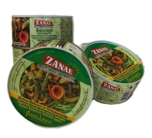 Grüne Bohnen eintopf in Tomatensauce | 100% Vegetarisch | griechisches Fertiggericht für Mikrowelle 4x 280g