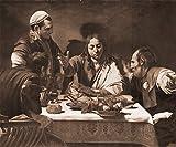 Bilderdepot24 Vlies Fototapete Caravaggio - Alte Meister - Das Abendmahl in Emmaus - sephia - Sepia - 120x100 cm - mit Kleister – Poster – Foto auf Tapete – Wandbild – Wandtapete –...