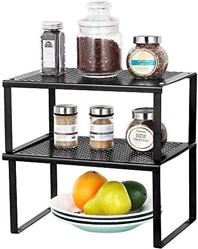 LIANTRAL Regaleinsatz im Küchenschrank, Erweiterbarer Stapelbarer Organizer, Küchenregale im Schrank Arbeitsplatten Stauraum Lösung für Gewürze, Können, Kräuter, 2er-Set - Schwarz