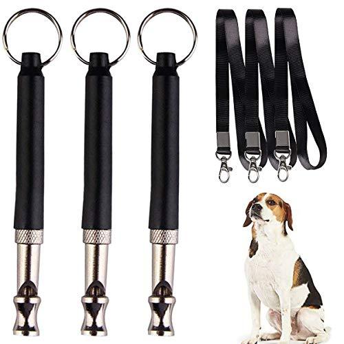 Netspower Hundepfeife mit Pfeifenband, 3 Stücke Professionelle Ultraschall Pfeife Trainingpfeife Einstellbares Pitch mit Schlüsselband für Hundetraining Schwarz