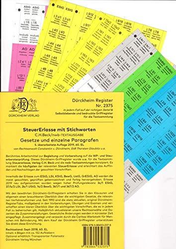 DürckheimRegister STEUERERLASSE mit Stichworten (2020): 150 Registeretiketten (sog. Griffregister) STEUERERLASSE mit STICHWORTEN • Für EStG, UStG, ... • In jedem Fall auf der richtigen Seite