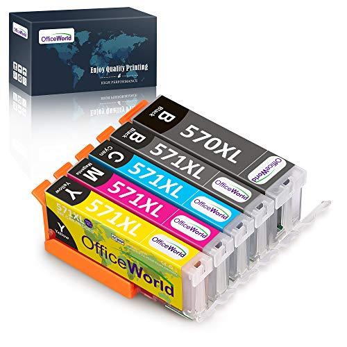 OfficeWorld Ersatz für Canon PGI-570 CLI-571 Druckerpatronen Hohe Kapazität mit Canon PIXMA TS5050 MG5750 TS5055 TS6050 MG6850 MG5751 MG6851 TS5051 TS5053 TS6051
