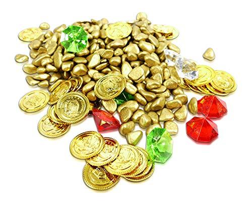 Brynnberg Dekoset Dekosteine Farbige Deko Diamanten Goldmünzen Schatzsuche Gold Streudeko Bunt