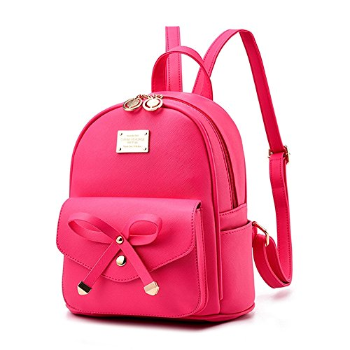 Fayland Gifts for Teen Girls, Women Bowknot Cute Mini Leather Backpack Purse Fashion Small Daypacks Roser