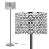 Elegant Crystal Floor Lamp, Bedroom Standing Lights, 65Inch Tall Pole Accent Lighting for Mid Century, Modern & Contemporary Style, Suitable for Bedroom, Living Room, Office, Chrome Finish