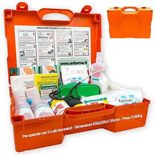 ONFARMA FARMA4 Cassetta Medica + Cartello di Primo Pronto Soccorso per aziende con Oltre 3 Lavoratori DM 388 Allegato 1 Completa di Cartello di Primo Intervento