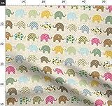 Bunt, Elefant, Punkte, Struktur, Kinderzimmer, Baby Stoffe