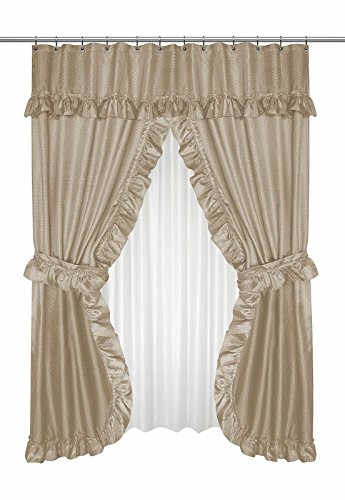 Home Bargains Plus Diamond Dot Ruffled Double Swag Fabric Shower Curtain with Valance and Liner - Linen