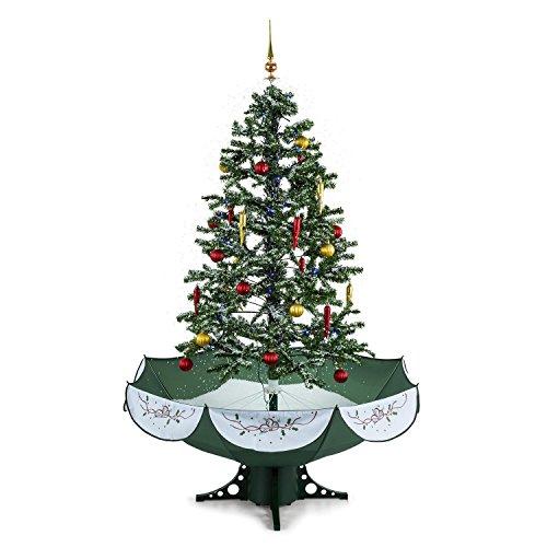 OneConcept Everwhite - künstlicher Weihnachtsbaum, Christbaum, Tannenbaum, Schneefallsimulation, 180 cm hoch, Lichterkette, Blaue LED-Beleuchtung, zuschaltbare Musikuntermalung, grün