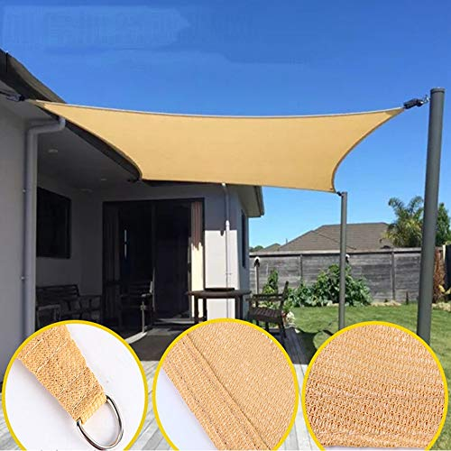 YUDEYU Multipurpose Sun Protection Shade Sail Four-cornered Sail Outdoor Shading Mesh (Color : Beige, Size : 5.49x5.49m)