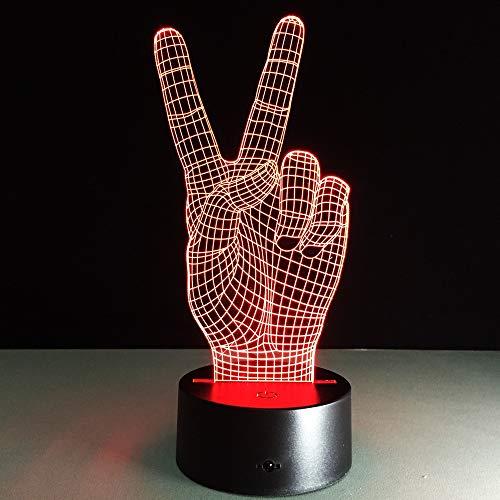 Hand Van De Overwinning 3D Led-Verlichting Kleurrijke Aanraking Visie Verlichting Decoratie Sfeervolle Hologram Illusie Tafellamp USB Led-Lamp